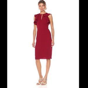 SHOSHANNA Darwin Sleeveless Sheath Dress Cranberry